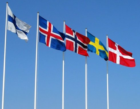 Nordic flags: Finland, Iceland, Norway, Sweden and Denmark (from left to right)