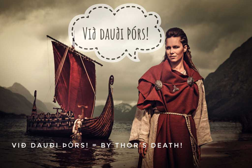 Við dauði Þórs! is a strong Viking curse word that means By Thor's death. Use with care!
