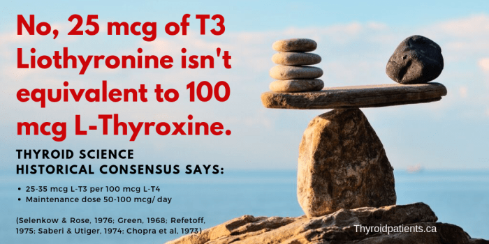 No, 25 mcg L-T3 isn't equivalent to 100 mcg L-T4.