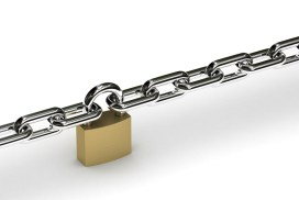 Padlock holding two chains together over white background