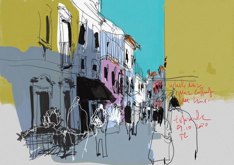 drawing of street in Esposende, Portugal