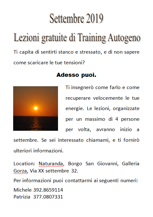 Lezioni gratuite di training autogeno