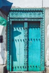 blue door in stone town