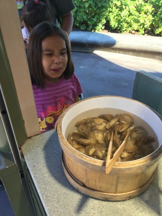 Izzy sees the bucket of smelly oysters