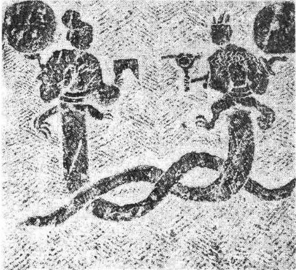 Fuxi et Nuwa mis au jour dans la tombe 2 de Zhangjiagou, Hejiang, Sichuan