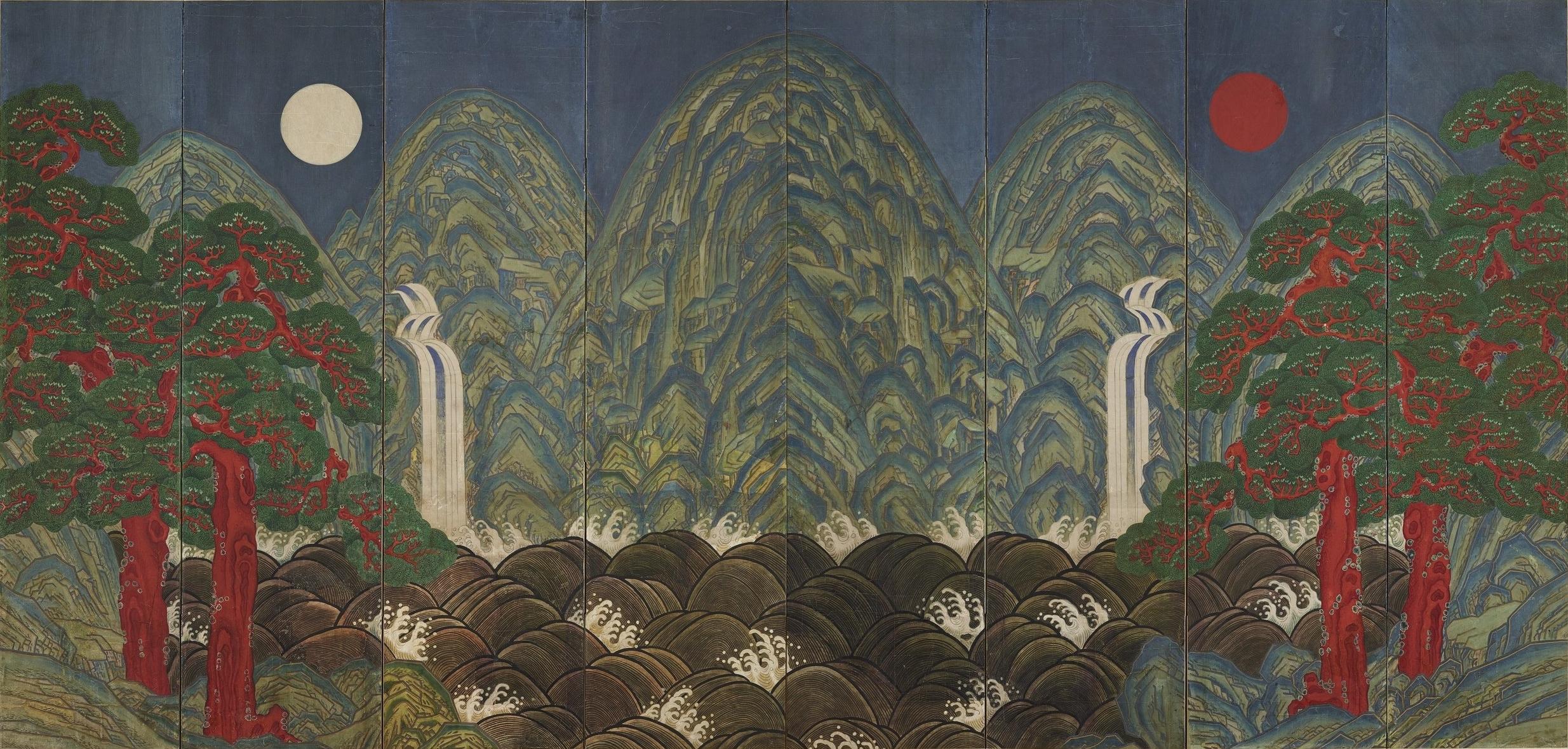 Soleil, lune et cinq pics, écran huit fois; couleurs sur papier, artiste inconnu, Joseon Dynasty (1392-1910)