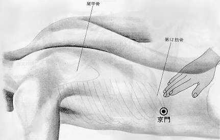 Accès au thorax, 京門jīngmén, est le vingt cinquième point duméridien de vésicule biliaire