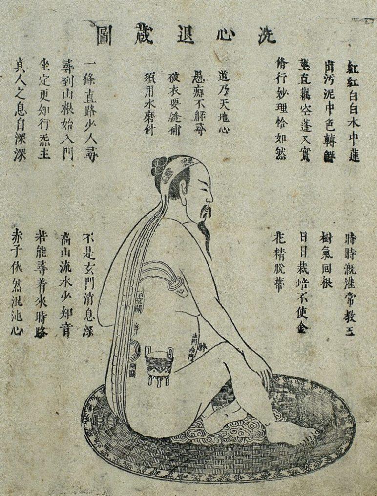 Gravure sur bois qui illustre la pratique appelée Lavez le cœur et retirez-vous dans un endroit caché (洗心退藏 xǐ xīn tuì cáng)