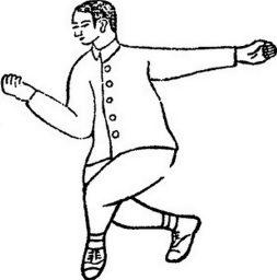Le poing et l'avant-bras en rotation vers l'intérieur, illustration de la Boxe de l'école Yue (岳氏八翻手: Yuè shì bā fān shǒu) par 王新午 Wáng Xīnwǔ