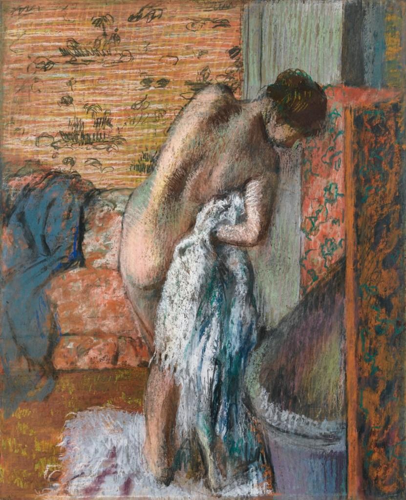 Après le bain, femme s'essuyant, vers 1882-1885, pastel sur papier d'Edgar Degas