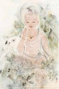 Bodhisattva et cerf, encre et couleur sur papier de Pan Wenxun