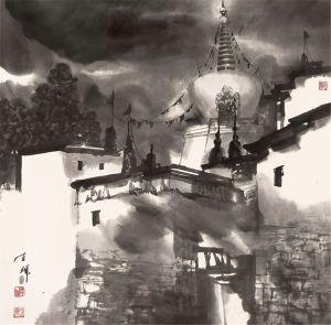 Une vue du monastère de Tashilhunpo, encre de papier de Chen Hui, 2016