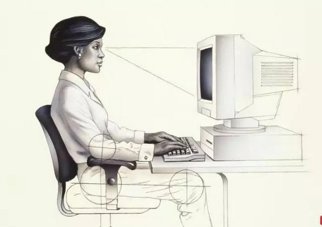 Illustration de la position assise correcte. pour un poste de travail avec un ordinateur