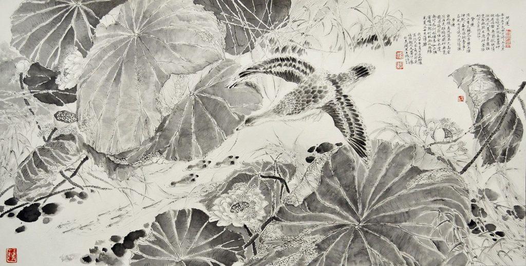 Divertissement dans l'étang de lotus à la recherche du ciel, encre de Chine et eau sur du papier de riz par Shaoqiang Chen