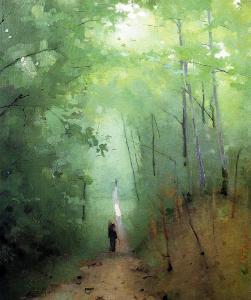 Paysage dans la forêt de Fontainebleau, huile sur carton d'Abbott Handerson Thayer, 1876