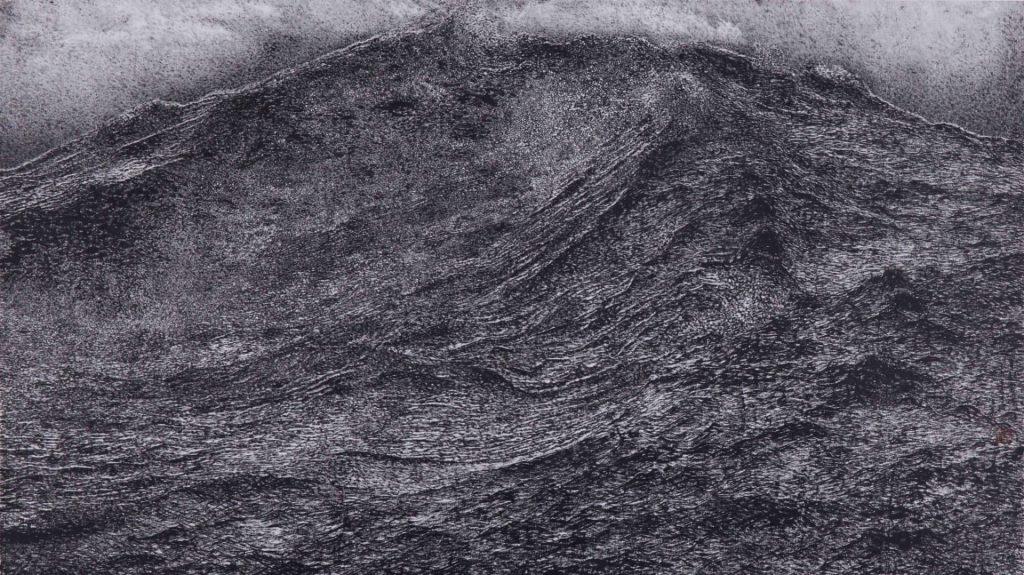 Crue de montagnes et nuée de nuages,  encre & couleur sur papier de GuanZhi
