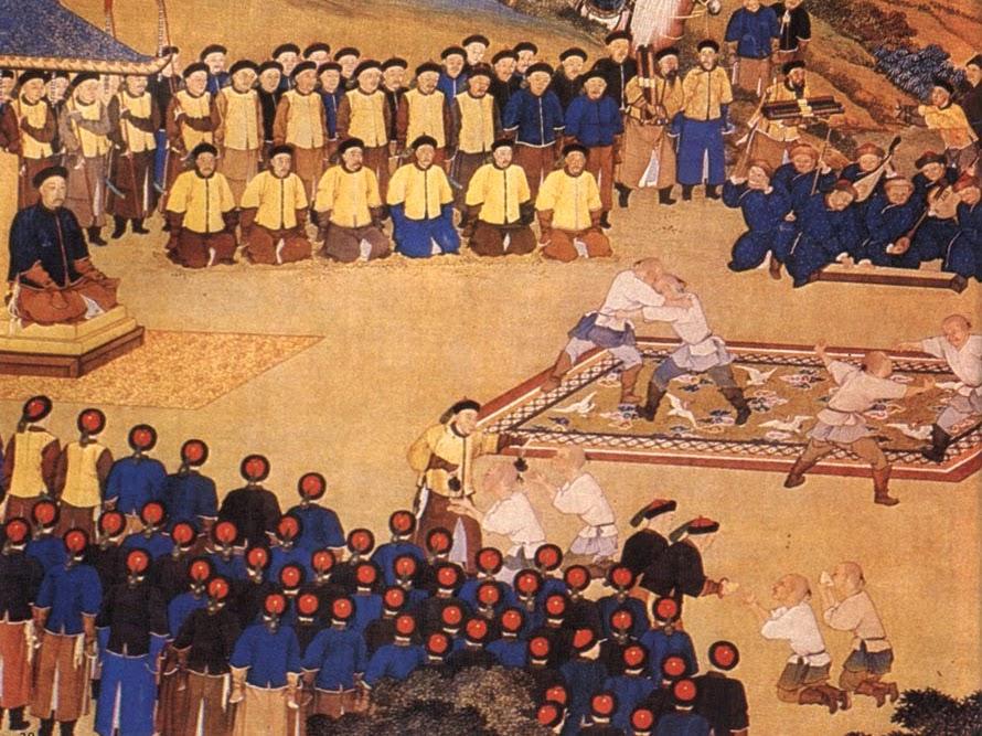 Des lutteurs mandchous se sont affrontés devant l'empereur Qianlong