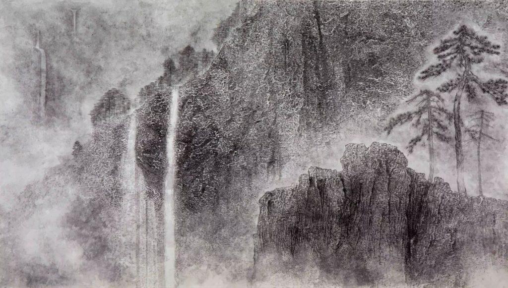 Forêt et ruisseaux,  encre & couleur sur papier de GuanZhi
