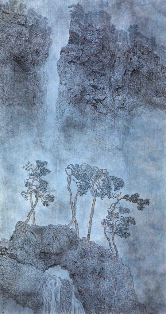 Hautes montagnes et longues rivières,  encre & couleur sur papier de GuanZhi