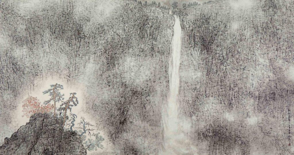 La majesté au delà d'une myriade de vallées,  encre & couleur sur papier de GuanZhi