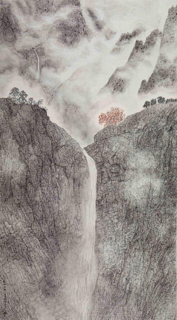 Montagnes imposantes et eau vive,  encre & couleur sur papier de GuanZhi