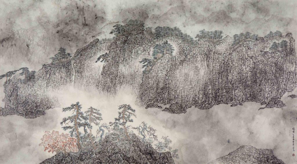 Réflexion sur un paysage ancien,  encre & couleur sur papier de GuanZhi