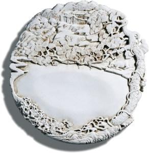 Une pierre d'encre en biscuit de porcelaine blanche sculptée par Chen Guozhi, Qing