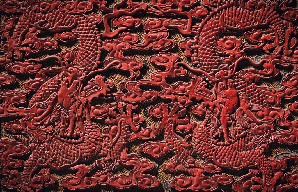 Détail du trône des Neuf Dragons , époque Qianlong