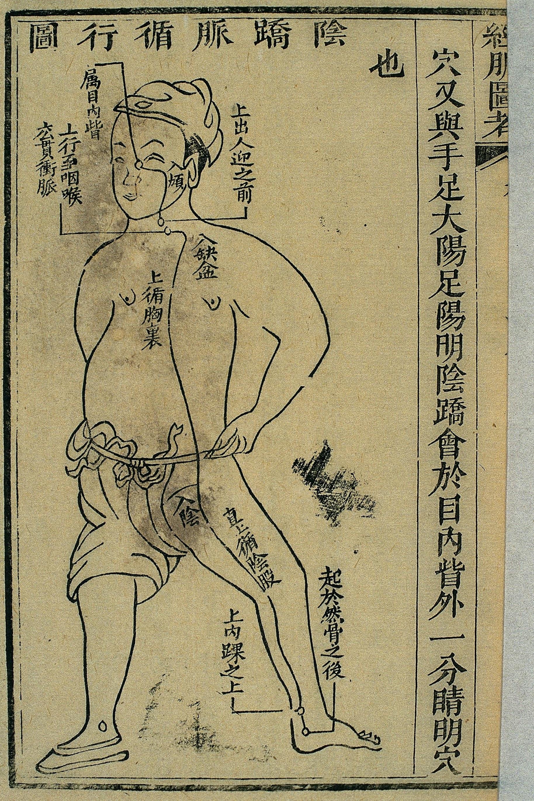 Gravure sur bois, illustrant le trajet du 陰蹺脈 yīn qiāo mài, tirée de l'étude illustrée des canaux (經脈圖考 jīng mài tú kǎo), publiée en 1878