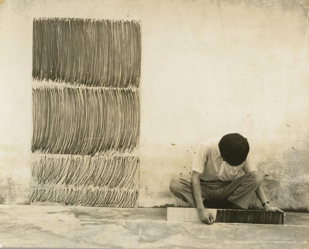 Le corps qui dessine, 1976, Lee Kun-yong, photographie de Sung Neung-kyung