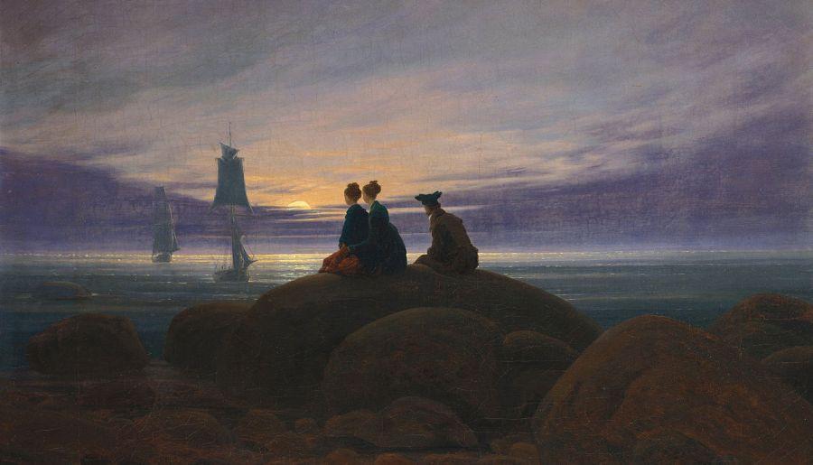 Lever de lune sur la mer, 1822, huile sur toile de Caspar David Friedrich (1774-1840)