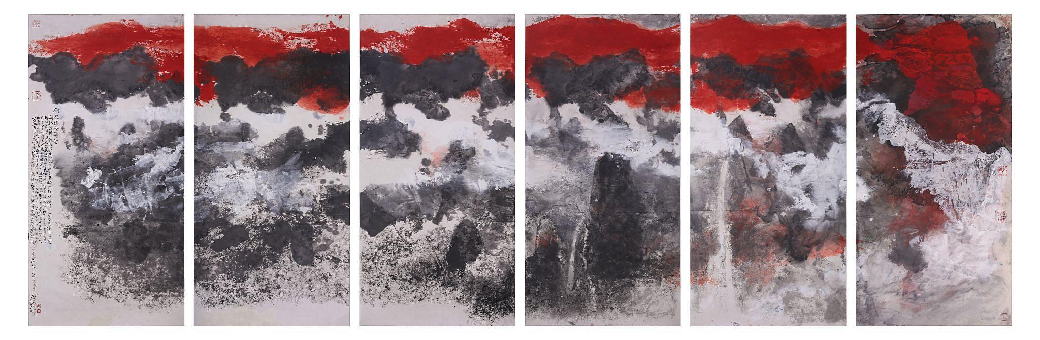 Qing Feng Ridge, Chaoyang, 2016, encre et couleur sur papier de Hou Beiren