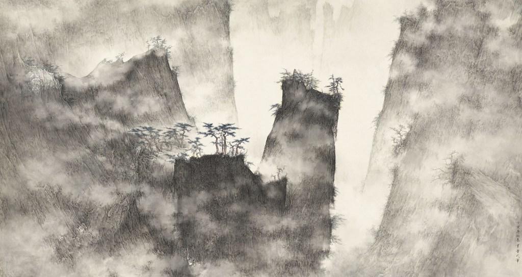 Montagnes brumeuses, 2007, encre et couleur sur papier de Li Huayi (1948-)