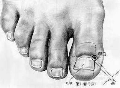 Esprit caché, 隐白 yǐnbái, est le premier point du méridien de la rate