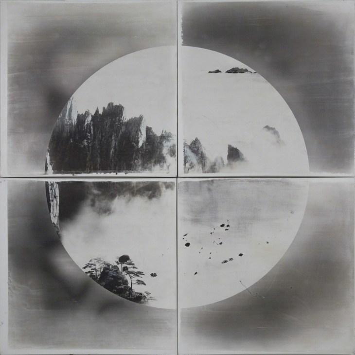 Crossroads No. 2, 2016, photographie imprimée à la main apposée sur toile en lin, couleurs minérales et peinture acrylique de Shao Wenhuan