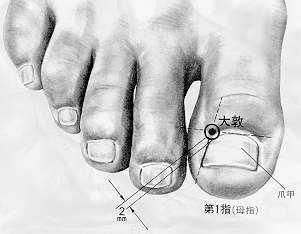 大敦 dàdūn est le premier point du méridien du foie.