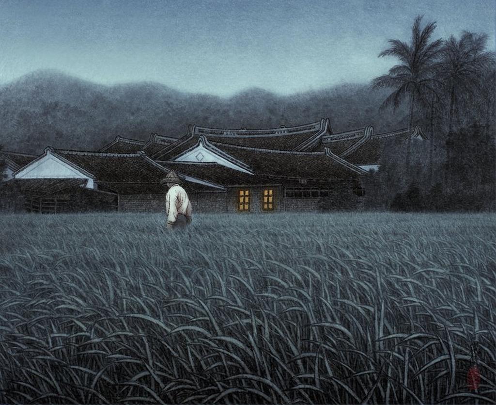 La bonne terre, encre, pigment sur papier de Wu Lan-Chiann