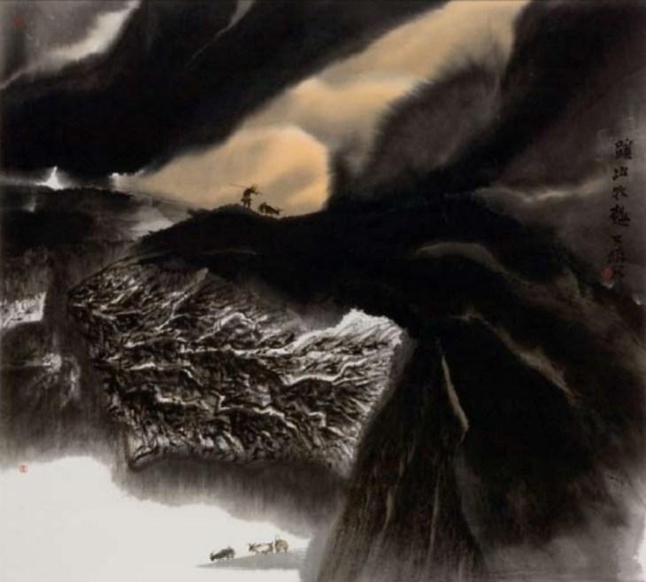 Travail 1, 2007, encre et couleur sur papier, Jia Youfu