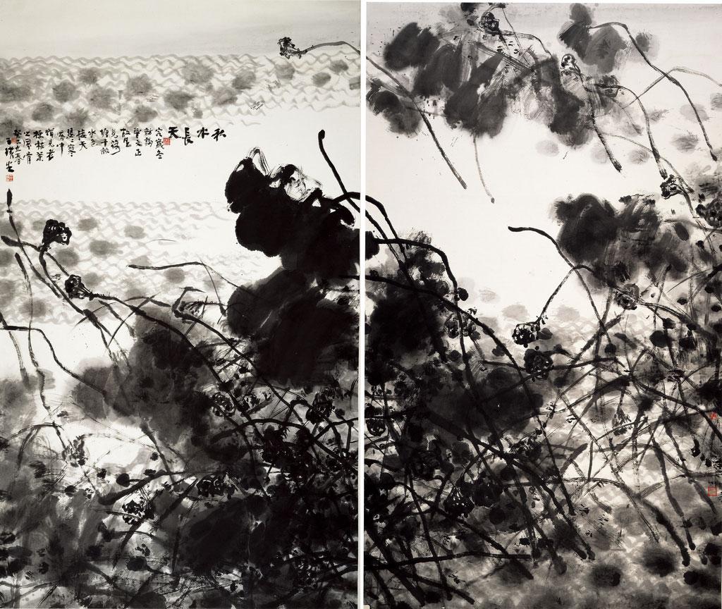 Intégration de l'eau d'automne et du ciel lointain, encre et lavis sur du papier de Wang Huangsheng