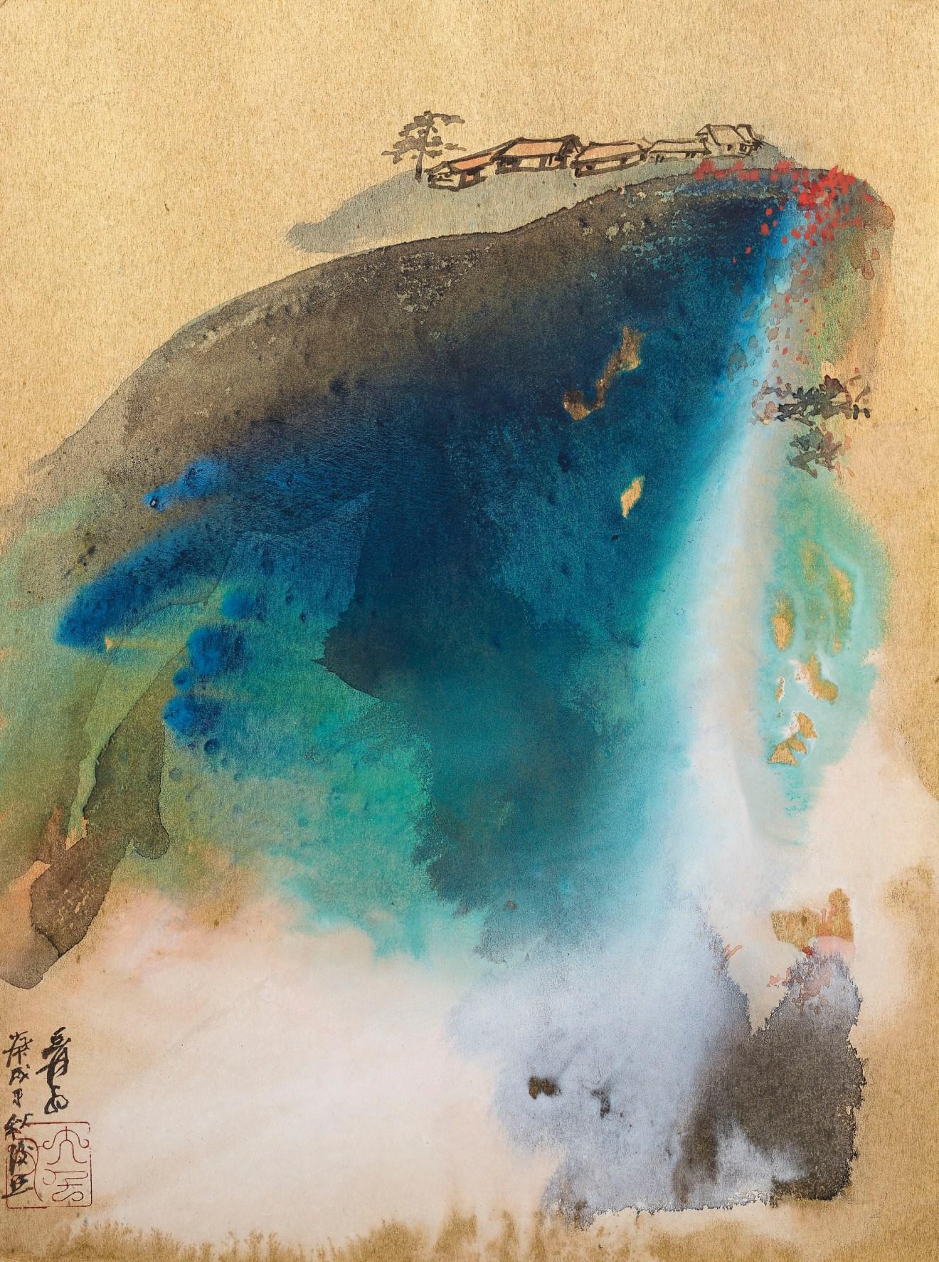 La vie à la montagne à l'automne 1970, encre et couleur sur une planche d'or japonaise, Zhang Daqian