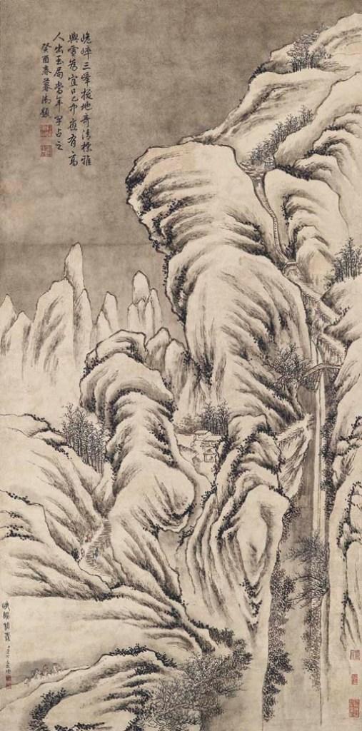 Neige sur la montagne E'Mei, rouleau suspendu, encre et couleur sur papier de Dong Bangda