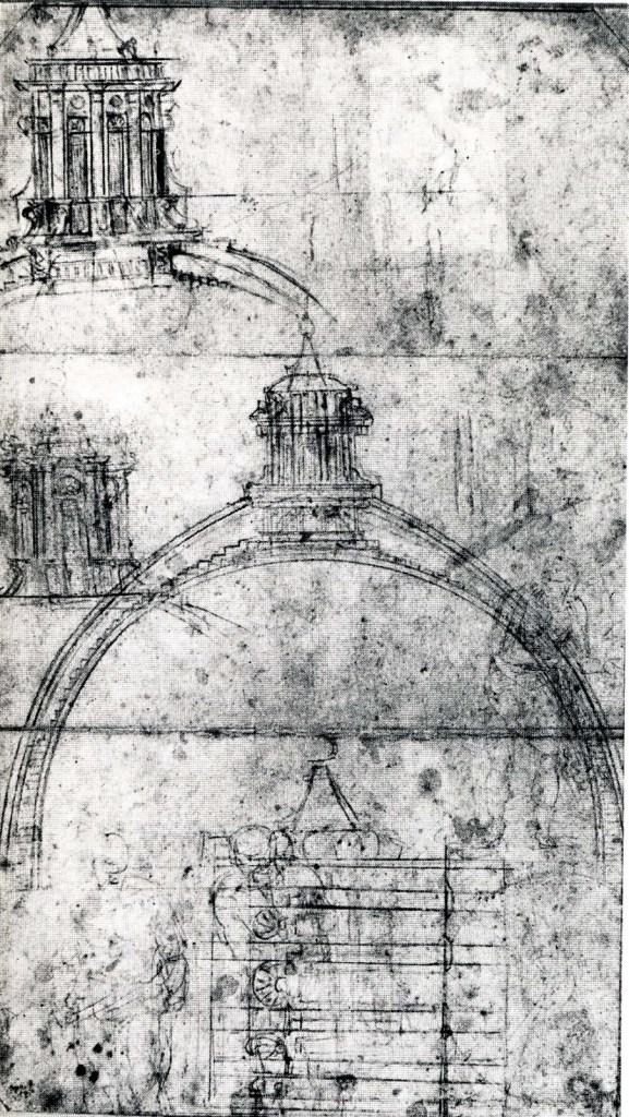 Croquis de Michel-Ange pour le dôme de Saint-Pierre montrant un dôme à double coque et une lanterne.