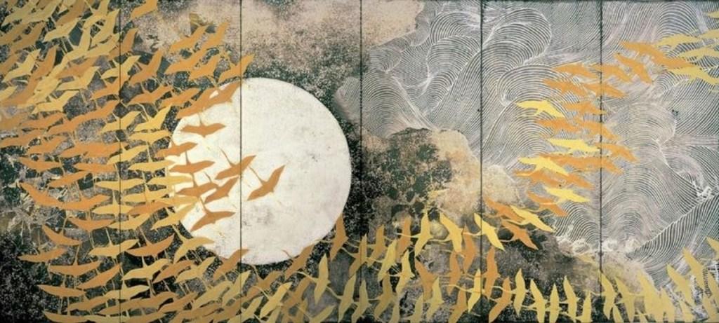 Un millier de grues, premier paravent à six panneaux, couleur sur soie, Kayama Matazo