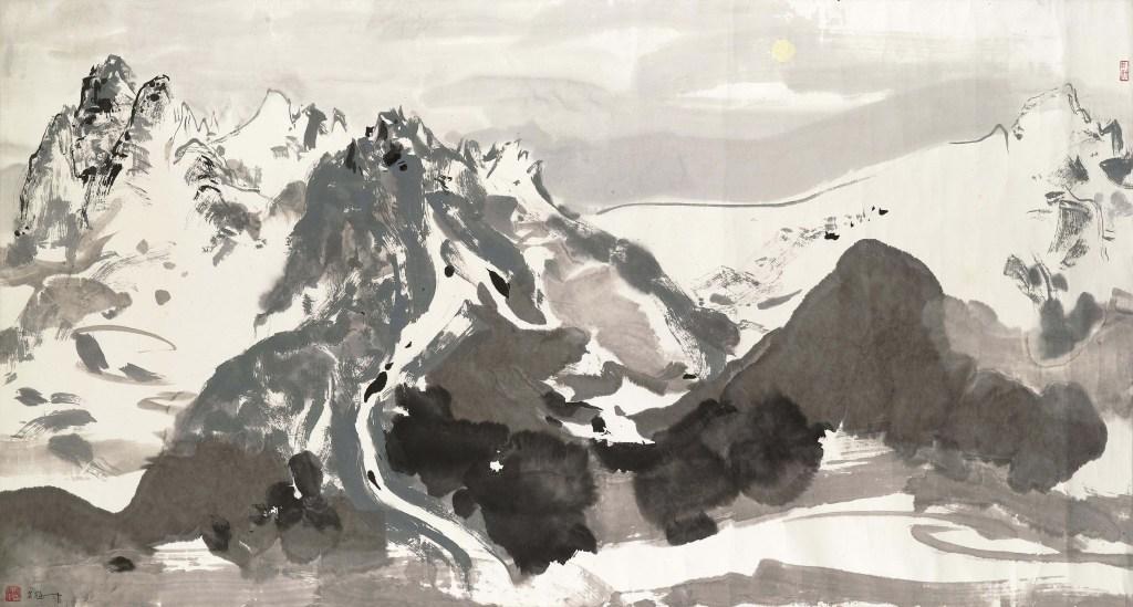 Montagne Yulong au clair de lune, encre et couleur sur papier, Wu Guanzhong (1919-2010)