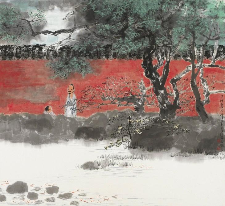 Quiétude d'un jardin d'hiver, encre et couleurs sur papier, 1987, Li Yihong
