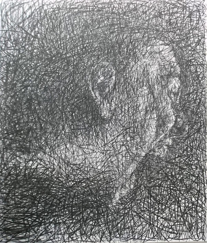 Cri intérieur, 2016, fusain sur toile de Hom Nguyen