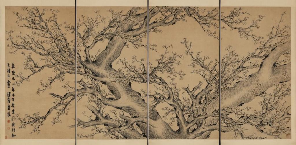 Fleurs de prunier en quatre rouleaux, encre sur papier, Jin Nong (1687–1764), dynastie chinoise Qing