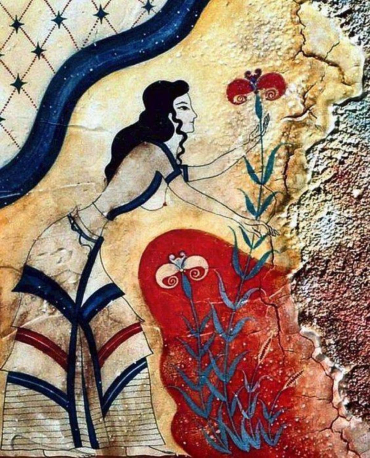 Fresque minoenne du palais Knossos, 16 ème AEC Crète, Grèce