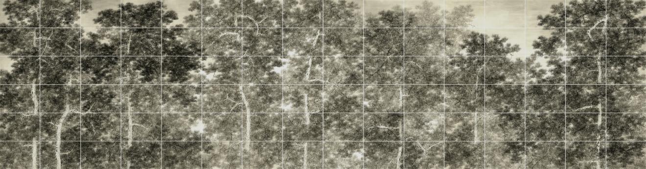 Verdure, 2015, encre sur carton shikishi, polyptyque de 96 panneaux, Koon Wai Bong, collection du Asian Art Museum de San Francisco