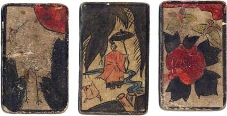 Cartes abciennes d'un jeu d'hanafuda